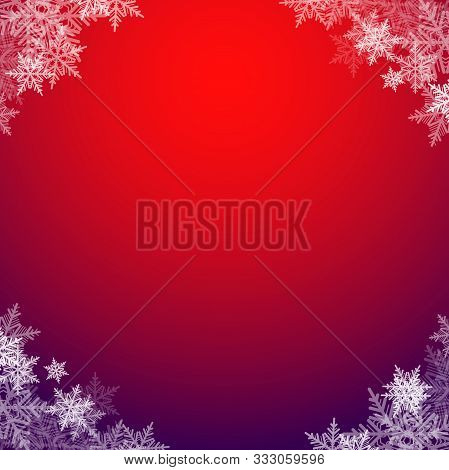 Fabulous Christmas Vector Background, Square Frame With Beautiful White Snowflakes, Eps 10