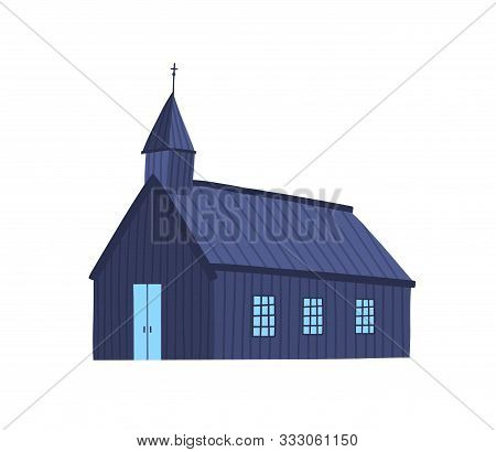Icelandic Church Flat Vector Illustration. Old Chapel, Wooden Plank Cathedral. Simple Religious Buil