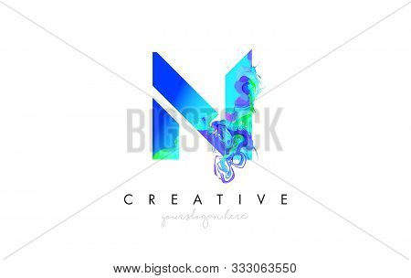 N Letter Icon Design Logo With Creative Artistic Ink Painting Flow In Blue Green Colors Vector Illus