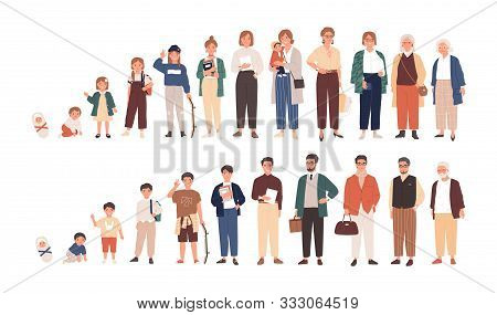 Human Life Cycles Vector Illustration. Male And Female Growing Up And Aging. Men And Women Of Differ