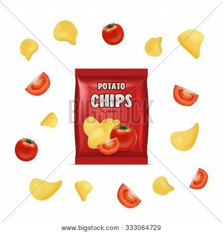 Realistic Detailed 3d Chips Advertisement Bag Crunchy Delicious Tasty Snack Product With Flavor Toma