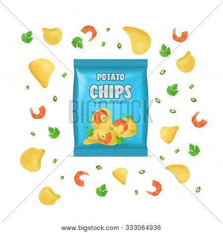 Realistic Detailed 3d Chips Advertisement Bag Crunchy Delicious Tasty Snack Product With Flavor Shri