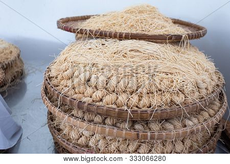 Yellow Noodles Or Mee Sua Food Drying In The Sunlight Making Sun Dried In Thailand Are Chinese Noodl