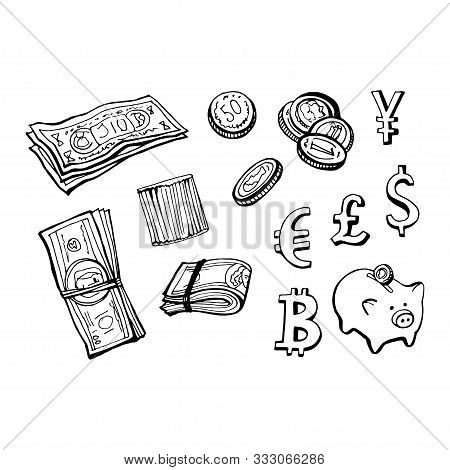 Some Doodles On Money Theme. Vector Hand Draw Illustration.