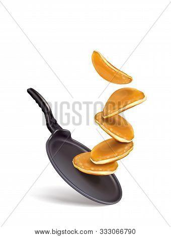 Vector Illustration Of Pancake Splash On Frying Pan