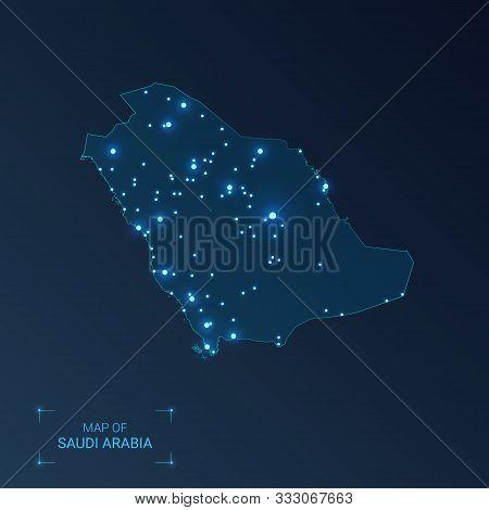 Saudi Arabia Map With Cities. Luminous Dots - Neon Lights On Dark Background. Vector Illustration.