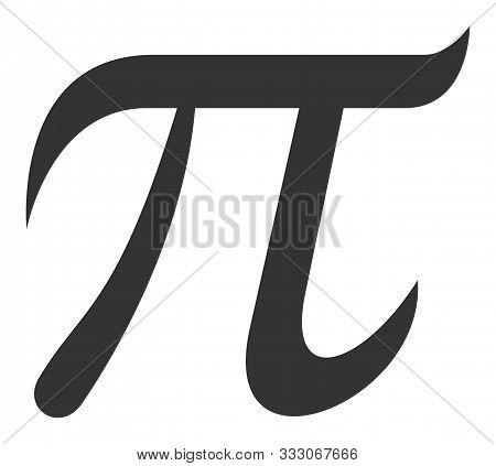 Pi Symbol Raster Icon. Flat Pi Symbol Is Isolated On A White Background.