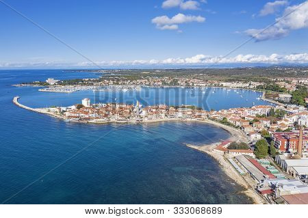 An Aerial View Of Old Town Umag, Istria, Croatia