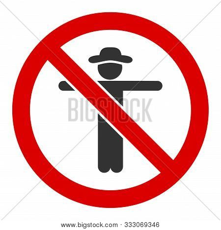 No Scarecrow Raster Icon. Flat No Scarecrow Symbol Is Isolated On A White Background.