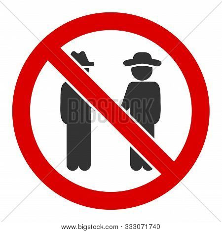 No Gentlemen Raster Icon. Flat No Gentlemen Pictogram Is Isolated On A White Background.