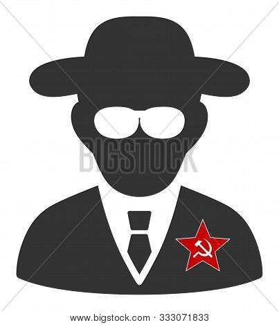 Kgb Spy Raster Icon. Flat Kgb Spy Symbol Is Isolated On A White Background.