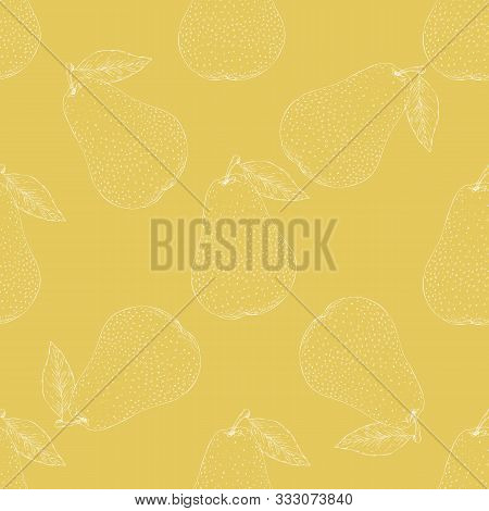 Seamless Pattern With With White Contours Of Whole Pears With Leaves On A Yellow Background