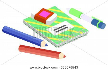Set Of Stationery For School, College And University Or Work At Office. Notebook With Metal Spiral,