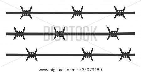 Barbwire Fence Raster Icon. Flat Barbwire Fence Symbol Is Isolated On A White Background.