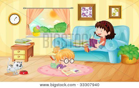 Ilustração de meninas lendo em casa - formato VETORIAL EPS também disponível na minha carteira.