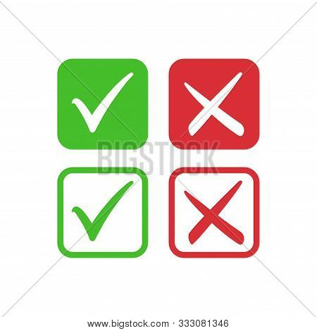 Tick Symbol Set In Red And Green Circle, Checkmark In Checkbox Vector Icons. Yes And No, Right And W