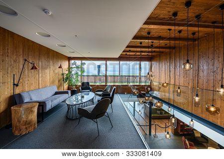 Myvatn, Iceland - September 10, 2019 : Interior Of Fosshotel Myvatn, A Four-star Hotel In Skutustada