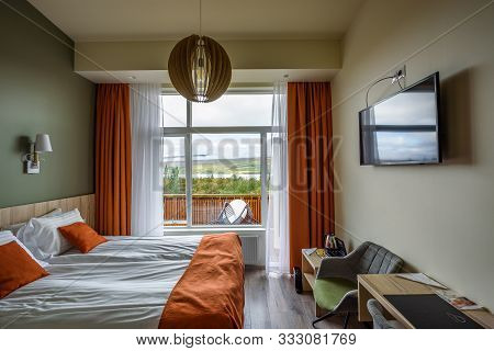 Hofn, Iceland - September 12, 2019 : Interior Of A Room In Fosshotel Vatnajokull, A Three-star Hotel