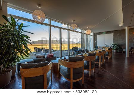 Hofn, Iceland - September 13, 2019 : Interior Of Fosshotel Vatnajokull, A Three-star Hotel In Hofn W