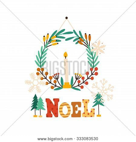 Festive Wreath With Candle Flat Vector Illustration. French Christmas Greeting Card, Postcard Decora