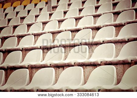 Seats In The Stadium Stands. Football And Sport Concept.