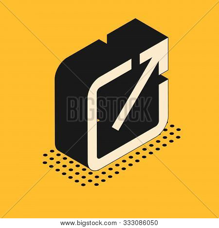 Isometric Open In New Window Icon Isolated On Yellow Background. Open Another Tab Button Sign. Brows