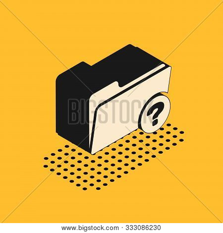Isometric Unknown Directory Icon Isolated On Yellow Background. Magnifying Glass And Folder. Vector