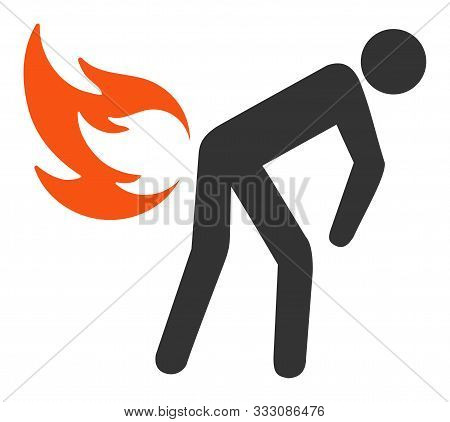 Fire Farting Raster Icon. Flat Fire Farting Pictogram Is Isolated On A White Background.