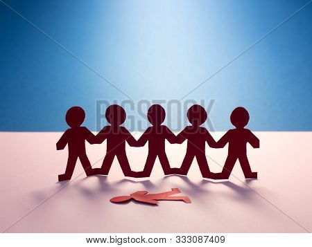 Group Mockery Or Racism In School, Work, Social Network. Worl Issue. Human Terror Conflict Concept.