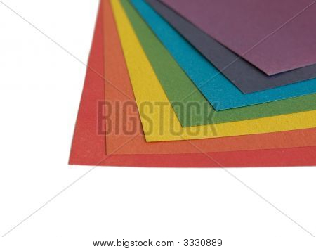 Detail of colored paper lists isolated on white background poster