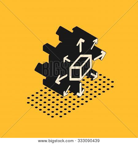Isometric Distribution Icon Isolated On Yellow Background. Content Distribution Concept. Vector Illu