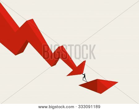 Business Bankruptcy And Default Vector Concept With Businessman Falling Into Hole. Recession, Crisis