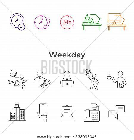 Weekday Line Icon Set. Late For Work, Coffee Break, Office Building. Business Concept. Can Be Used F