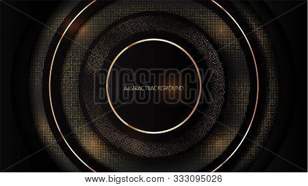 Abstract 3d Luxury Black Background With Glitter. Black Banner With Gold Dots. Vector Background