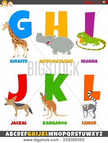 Cartoon Illustration Of Colorful Alphabet Set From Letter G To L With Funny Animal Characters