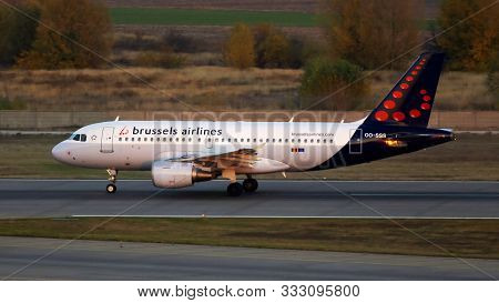 Borispol, Ukraine - October 18, 2019: Oo-sss Brussels Airlines Airbus A319-100 Aircraft In The Sunse