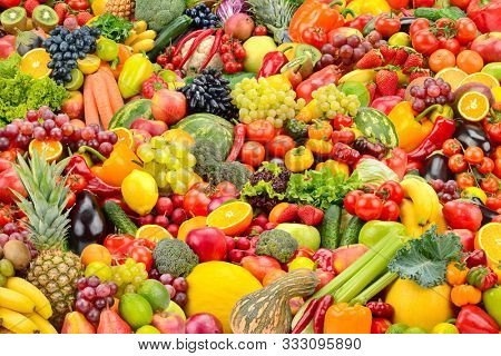 Bright background fruits and vegetables for backdrop . Big size.