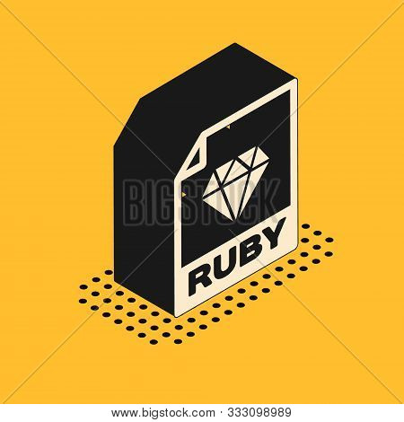 Isometric Ruby File Document. Download Ruby Button Icon Isolated On Yellow Background. Ruby File Sym