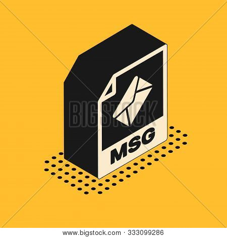 Isometric Msg File Document. Download Msg Button Icon Isolated On Yellow Background. Msg File Symbol