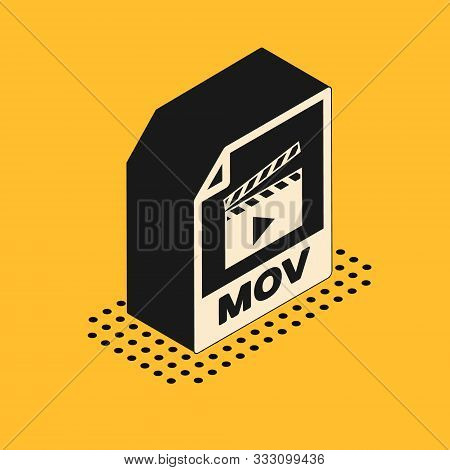 Isometric Mov File Document. Download Mov Button Icon Isolated On Yellow Background. Mov File Symbol