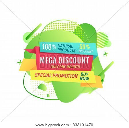Mega Discounts Special Offer Of Shop Vector, Market Proposition On Isolated Banner, Percent And Buy