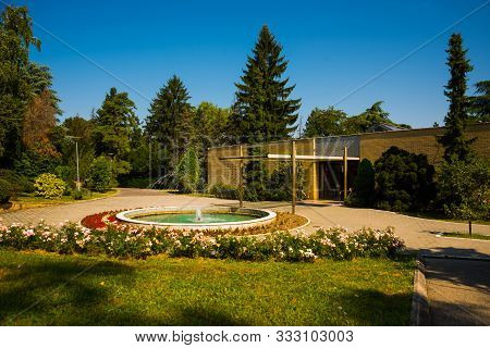 Belgrade, Serbia: Photo Of Fountain In Front Of The Entrance To The House Of Flowers.