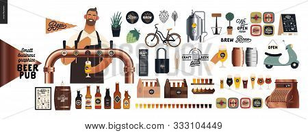 Brewery, Craft Beer Pub -small Business Graphics -male Visitor At The Bar Countera Bartender-modern
