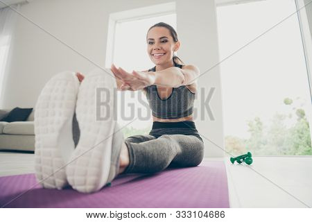 Full Body Close Up Photo Of Beauty Sport Athlete Girl Have Own Morning Regime Doing Activity Sport Y