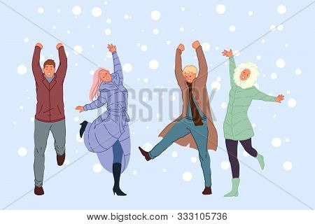 Outside Walk With Friends, Winter Entertainment, Snowy Weather Recreation Concept. Smiling People In