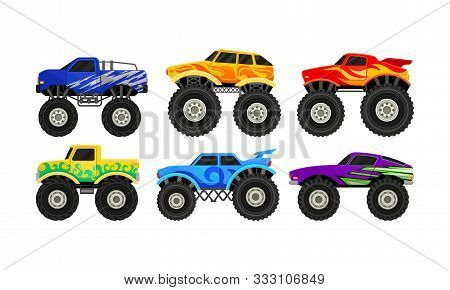 Bright Colorful Monster Trucks With Big Tyre Vector Illustration Set