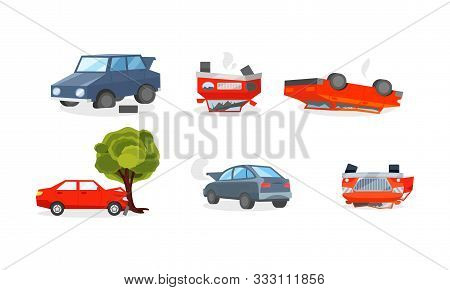 Car Crashes, Wrecked Vehicles And Insurance Cases On The Road Vector Illustration Set Isolated On Wh
