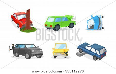 Damages Of Different Cars, Accidents And Insurance Cases On The Road Vector Illustration Set Isolate