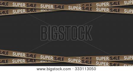 Black Friday Sale. Golden Ribbons For Black Friday Super Sale. Black Background. Crossed Ribbons. Su