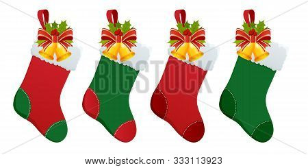 Set Of Christmas Boots Stocking With Gifts. Christmas Stockings With Gifts Isolated On White Backgro